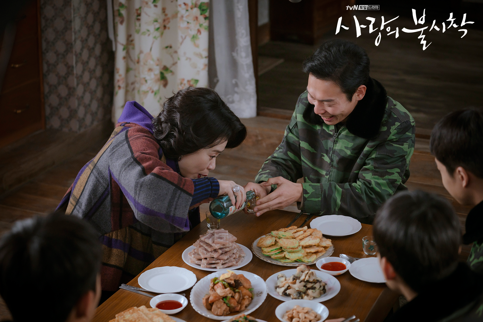 Crash Landing on You Master Sergeant Pyo and Seo Dan's mother at Captain Ri Jeong-hyeok's house episode 8