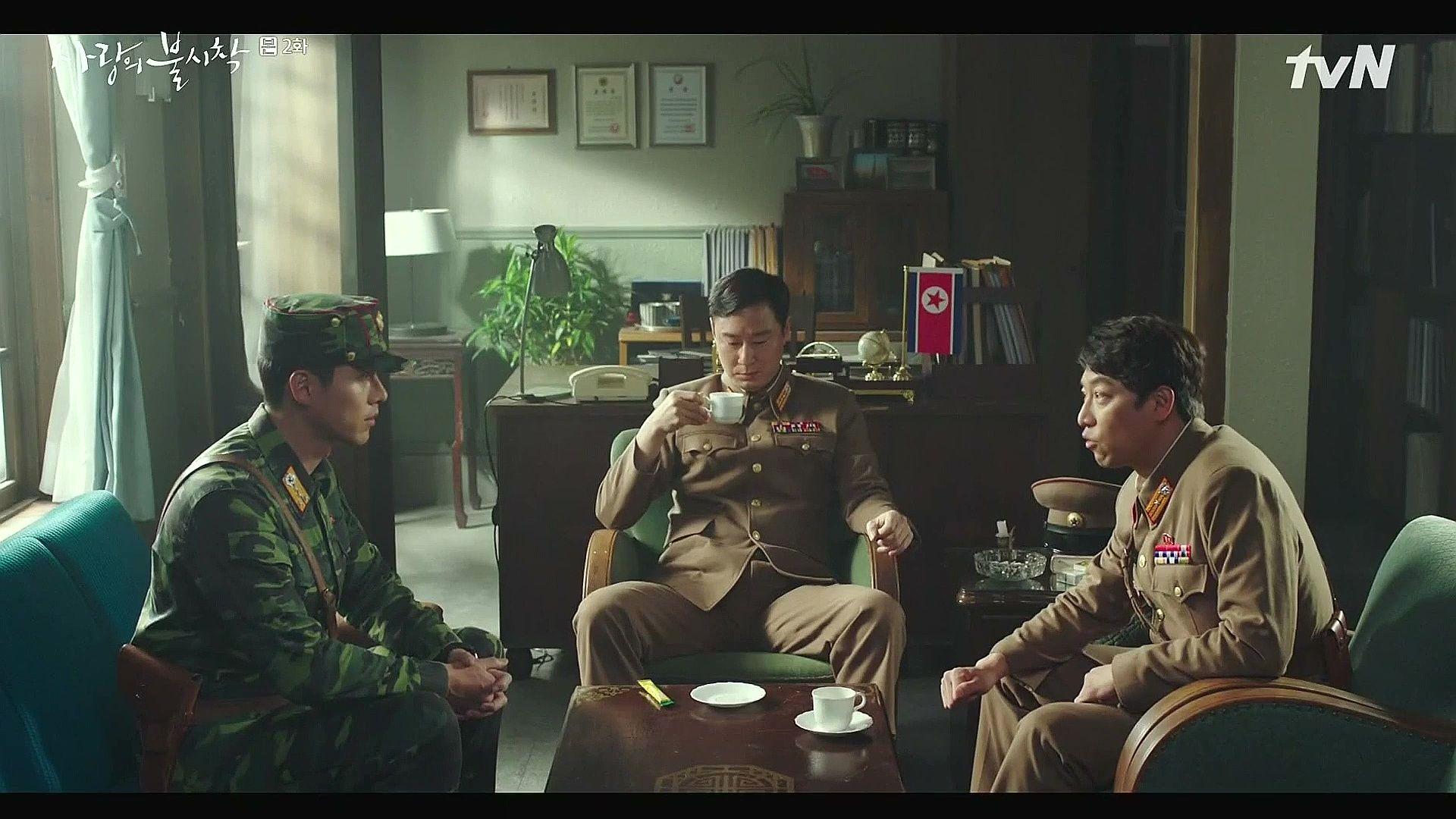 Crash Landing on You Captain Ri Jeong-hyeok, Cho Cheol-gang, and Senior Colonel talking