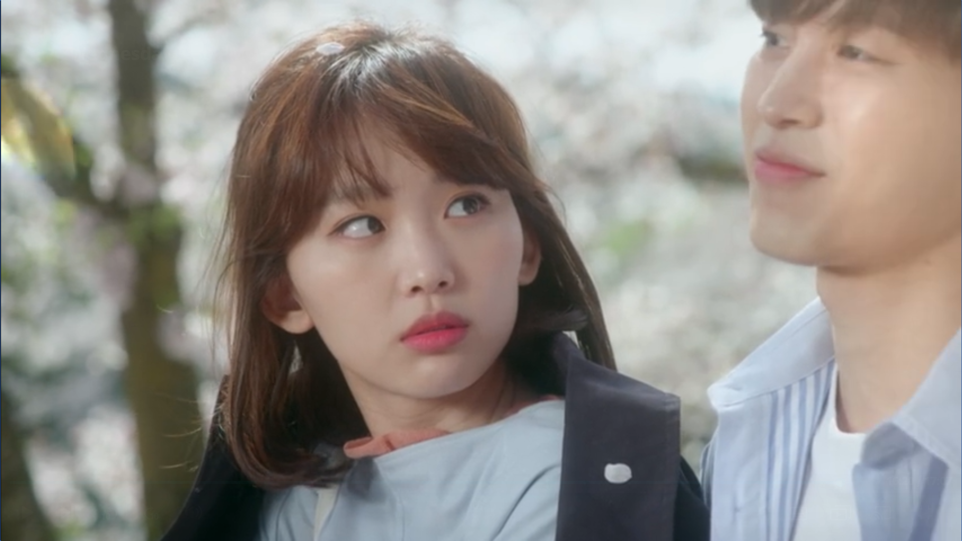 Wednesday 3:30 PM Seon Eun-woo and Yoon Jae-won at cherry blossom