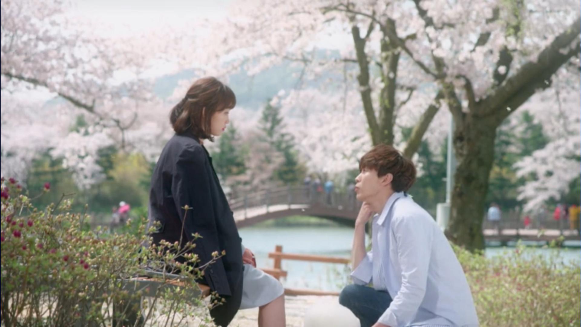 Wednesday 3:30 PM Yoon Jae-won and Seon Eun-woo at cherry blossom
